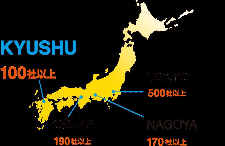 九州100社以上、東京500社以上、名古屋170社以上、大阪190社以上